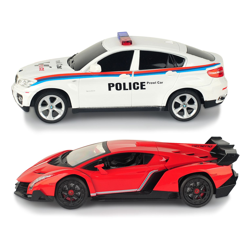 Braha 1:24 Remote Control Full Function Sports Cars Lamborghini Veneno VS  BMW Policecar