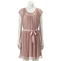 Women's LC Lauren Conrad Metallic Pleat Neck Dress