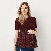 Maternity LC Lauren Conrad Mixed-Media Babydoll Top