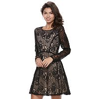 Juniors' Speechless Scroll Lace Fit & Flare Dress