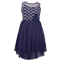 Girls 7-16 Bonnie Jean Sequin & Rosette High-Low Dress