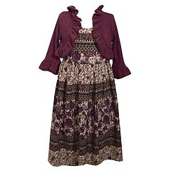 Girls 7-16 Bonnie Jean Floral Dress & Ruffled Cardigan Set