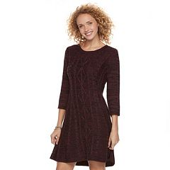 Juniors' Cloud Chaser Marled Fit & Flare Sweater Dress