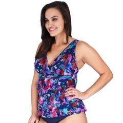Plus Size Mazu Floral Tiered Mesh Tankini Top