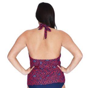 Plus Size Mazu Floral Scalloped Halterkini Top