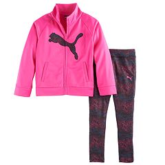 Toddler Girl PUMA Logo Jacket & Print Leggings Set