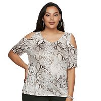 Plus Size Jennifer Lopez Ruched Cold-Shoulder Tee