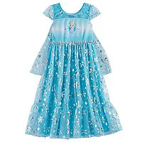 Disney's Frozen Elsa Girls 4-10 Foil Snowflake Print Dress-Up Cape Nightgown
