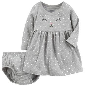 Baby Girl Carter's Gray Cat Dress
