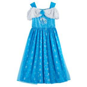 Disney's Frozen Elsa & Olaf Girls 4-10 Plush & Velvet Off-Shoulder Dress-Up Nightgown