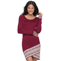 Juniors' Cloud Chaser Jacquard Sweater Dress