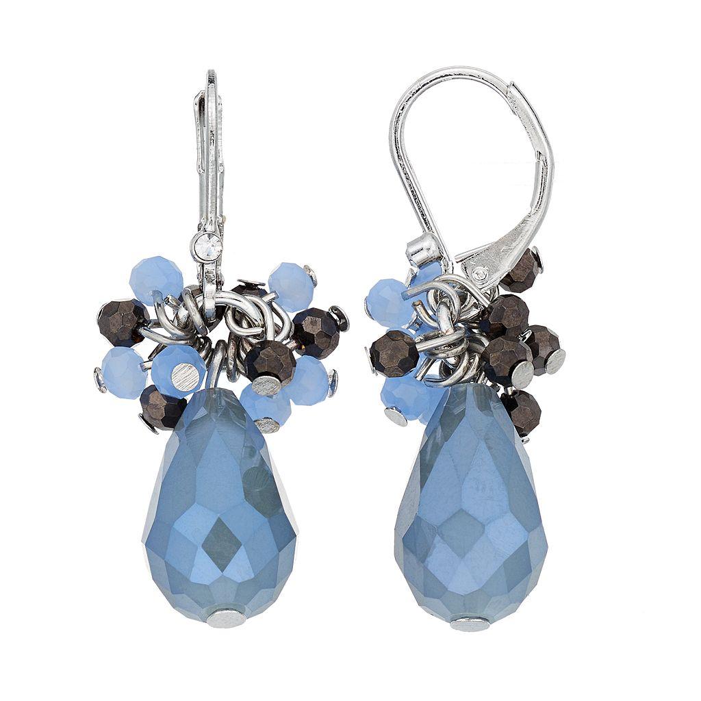 Simply Vera Vera Wang Nickel Free Blue Beaded Cluster Teardrop Earrings