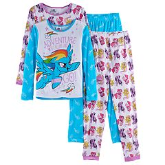 Girls 4-10 My Little Pony Movie Rainbow Dash, Twilight Sparkle, Pinkie Pie & Fluttershy 4-pc. Tops & Bottoms Pajama Set