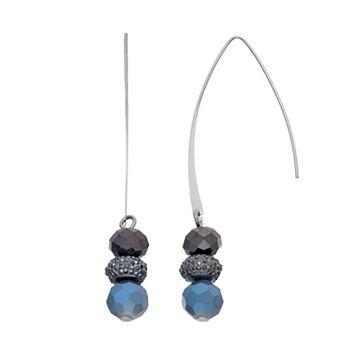 Simply Vera Vera Wang Nickel Free Blue Faceted Bead Threader Earrings