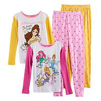Disney's Belle, Ariel, Cinderella & Rapunzel Girls 4-10 4 pc Tops & Bottoms Pajama Set
