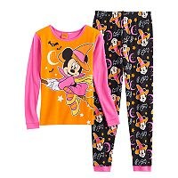 Disney's Minnie Mouse Halloween Witch Girls 4-8 Top & Bottoms Pajama Set