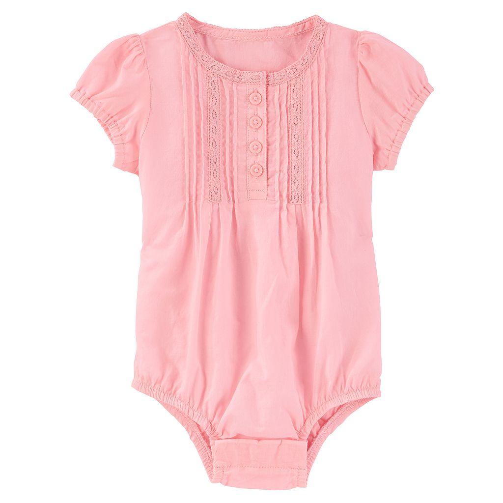 Baby Girl OshKosh B'gosh® Pintuck Henley Bodysuit