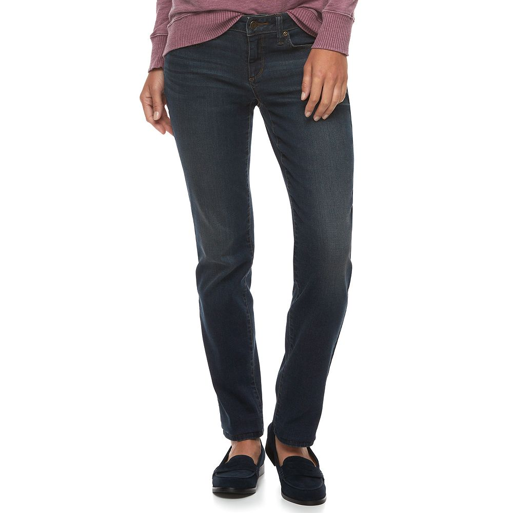 Women's SONOMA Goods for Life® Supersoft Midrise Stretch Curvy Straight-Leg Jeans