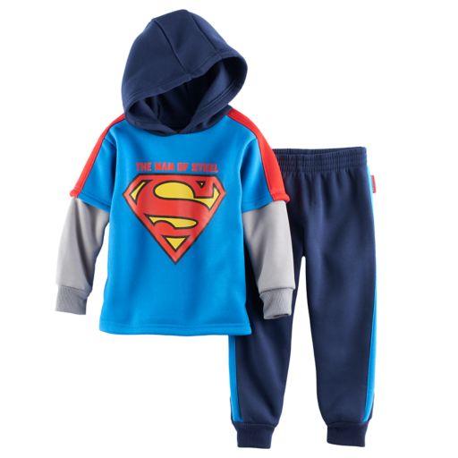 Toddler Boy DC Comics Super-Man Hooded Mock-Layered Top & Pants Set
