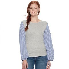 Juniors' Love, Fire Mixed Media Striped Sleeve Top