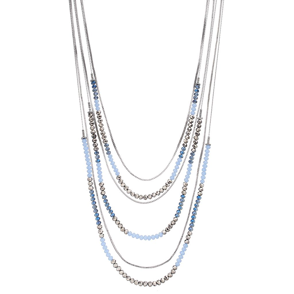 Simply Vera Vera Wang Long Layered Blue Beaded Necklace