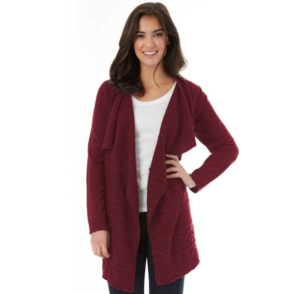 IZ Byer Cable-Knit Draped Cardigan