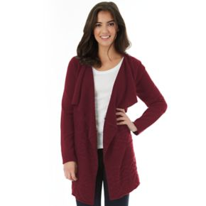 Juniors' IZ Byer Cable-Knit Draped Cardigan