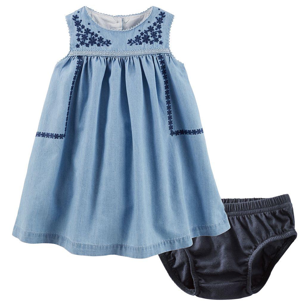 Baby Girl OshKosh B'gosh® Embroidered Chambray Dress