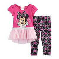 Disney's Minnie Mouse Baby Girl Floral Skirted Top & Leggings Set