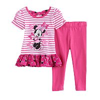 Disney's Minnie Mouse Baby Girl Striped Skirted Top & Leggings Set