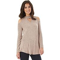 Juniors' IZ Byer California Cold Shoulder Choker Neck Top