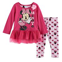 Disney's Minnie Mouse Baby Girl Skirted Top & Leggings Set