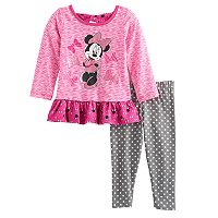 Disney's Minnie Mouse Baby Girl Ruffled Top & Polka-Dot Leggings Set
