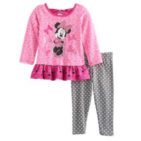 Disney's Minnie Mouse Baby Girl Ruffled Top & Polka-Dot Leggings Set