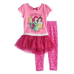Disney Princess Belle, Ariel & Rapunzel Toddler Girl 'Princess Power' Tutu Top & Leggings Set