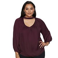 Plus Size Jennifer Lopez Choker Neck Peasant Top