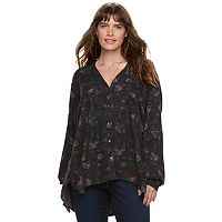 Plus Size Rock & Republic® Floral High-Low Shirt