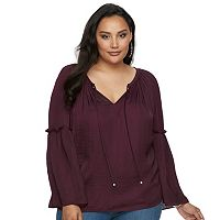 Plus Size Jennifer Lopez Ruffle Peasant Top