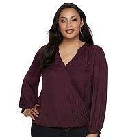 Plus Size Jennifer Lopez Surplice Popover Top
