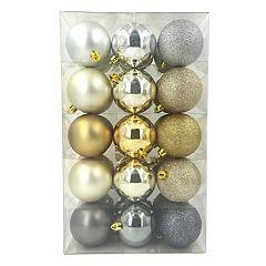 St. Nicholas Square® Gold & Silver Finish Shatterproof Christmas Ornaments 30 pc Set