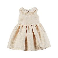 Baby Girl Carter's Gold Print Peter Pan Collar Dress