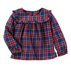 Baby Girl OshKosh B'gosh® Ruffled Plaid Twill Top