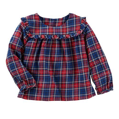 Baby Girl OshKosh B'gosh® Ruffled Plaid Twill Top
