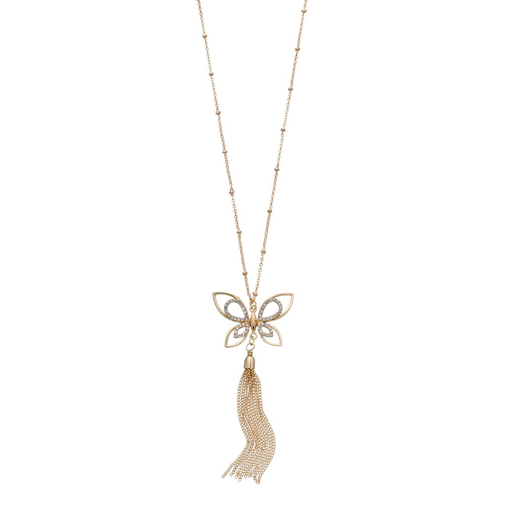 LC Lauren Conrad Long Butterfly Tassel Necklace