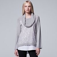 Women's Simply Vera Vera Wang Mock-Layer Lace Cowlneck Top