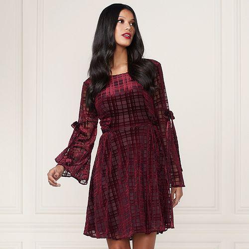 LC Lauren Conrad Runway Collection Velvet Fit Flare Dress