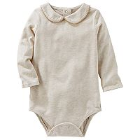 Baby Girl OshKosh B'gosh® Peter Pan Collar Jersey Bodysuit