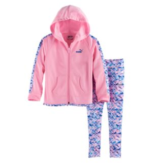 Girls 4-6x PUMA Watercolor Hooded Jacket & Leggings Set