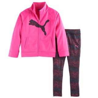 Girls 4-6x PUMA Logo Jacket & Print Leggings Set