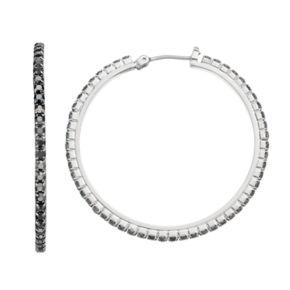 Simply Vera Vera Wang Black Cup Chain Nickel Free Hoop Earrings